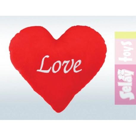 Süet Kalpli Yastık 40cm