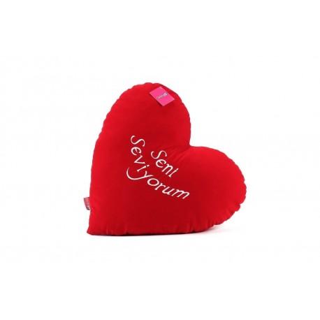 Süet Kalpli Yastık 70cm