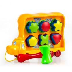 Kutulu Arabalı Çekiçli Çıngıraklı Bebek Oyun Seti